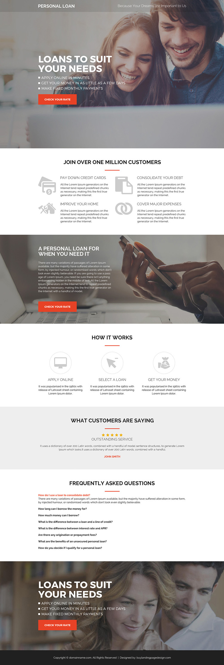 personal loans pay per click landing page design
