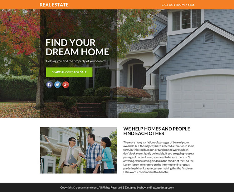 best real estate lead funnel landing page design