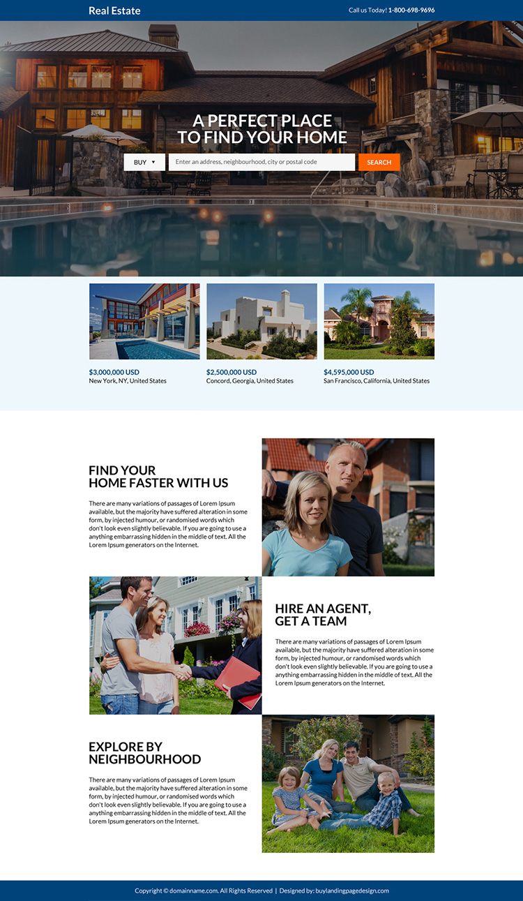 minimal real estate lead generating landing page design