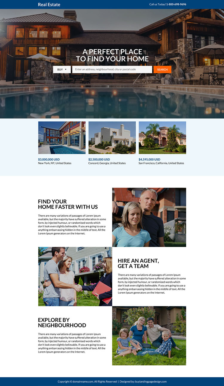 real estate search responsive landing page design