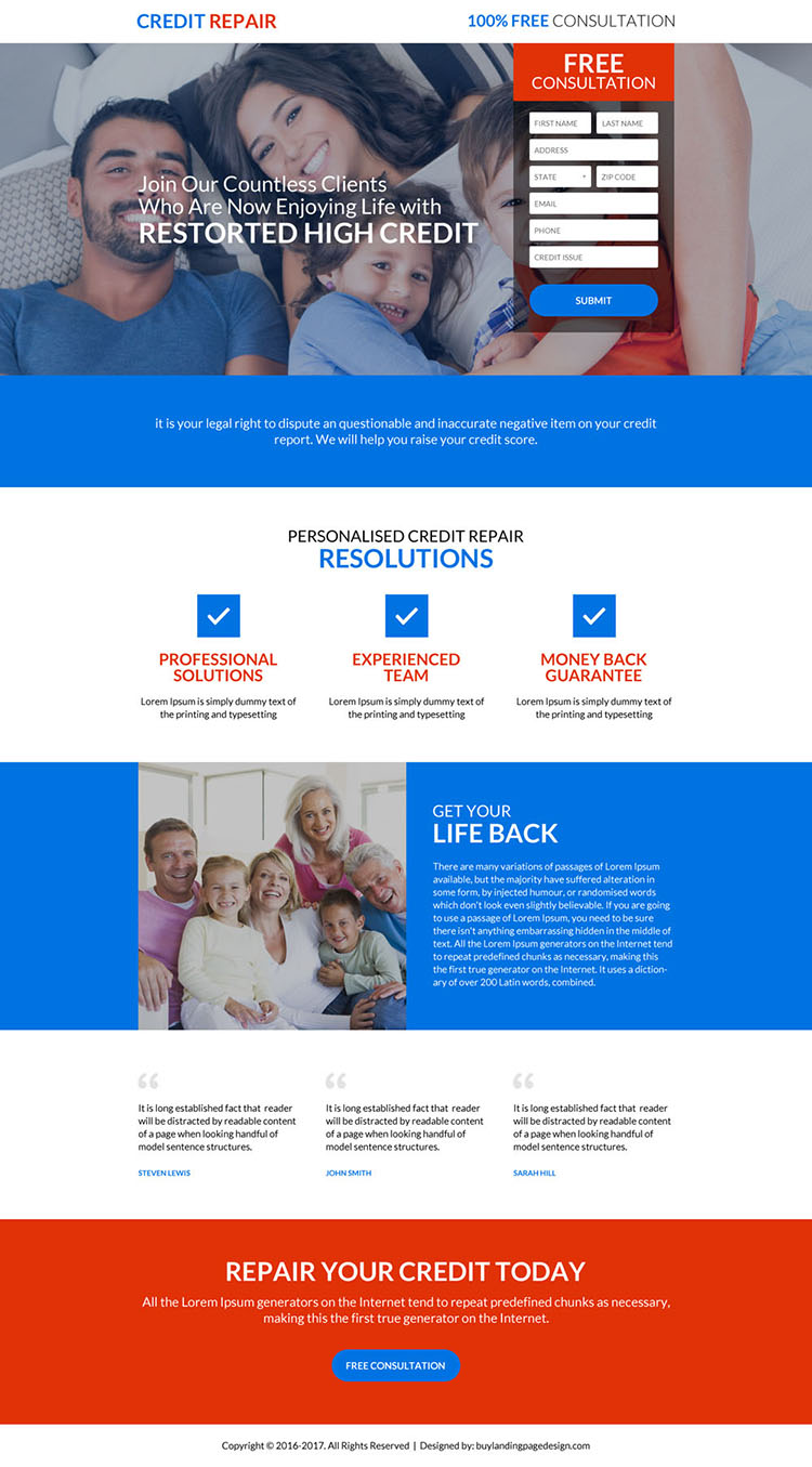 personalized credit repair consultation lead capturing landing page