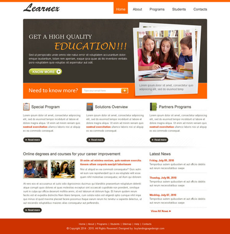 high quality and converting education website template design psd