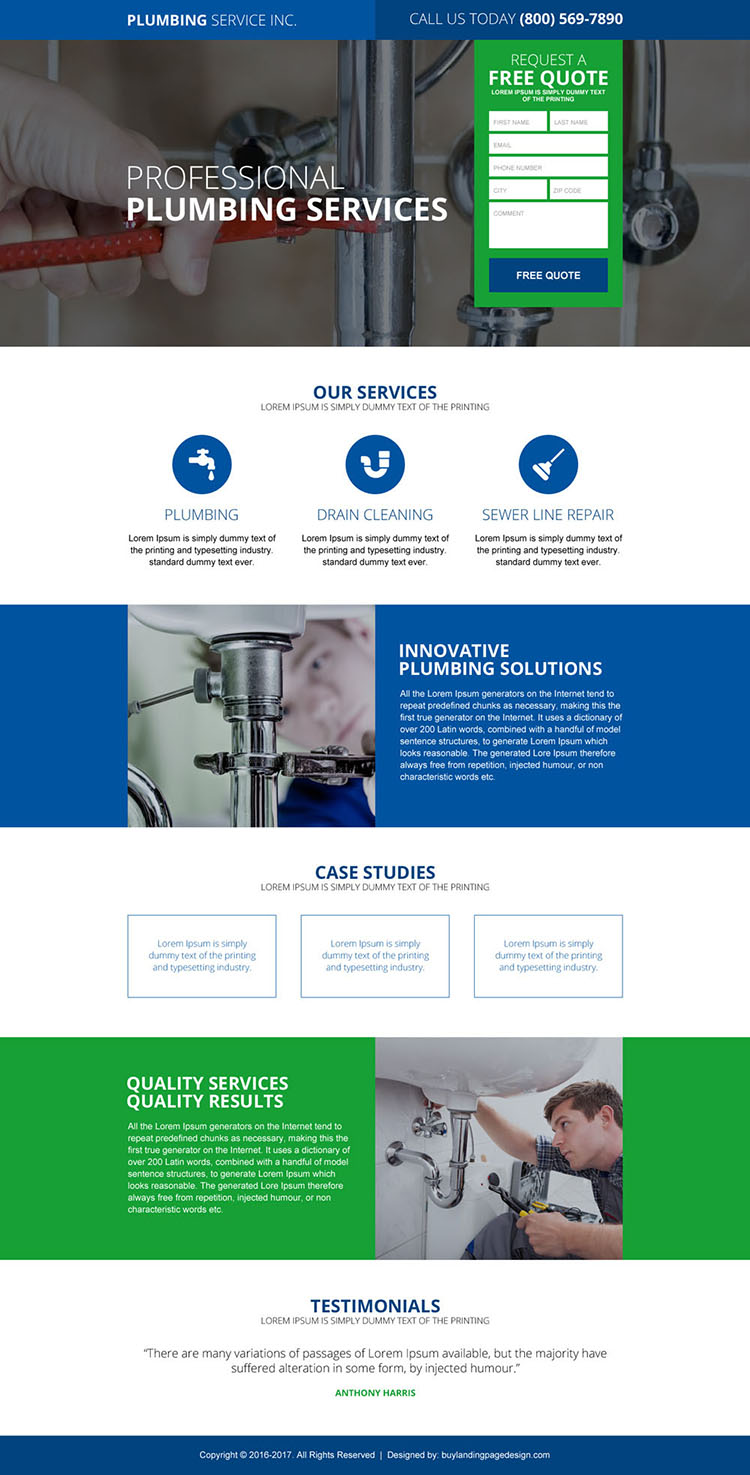high quality plumbing service landing page design
