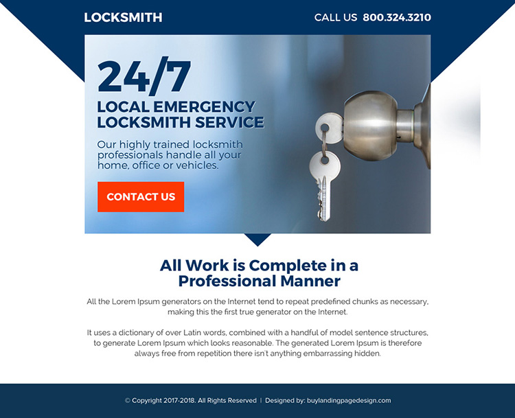 highly trained locksmith professional ppv landing page