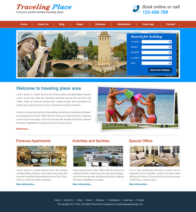 holiday travel website template design psd for sale