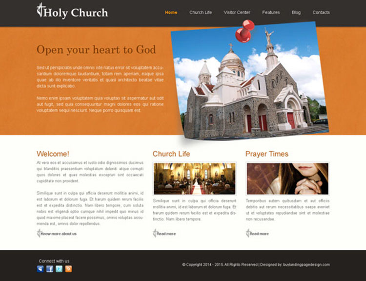 holy church clean and user friendly website template design psd