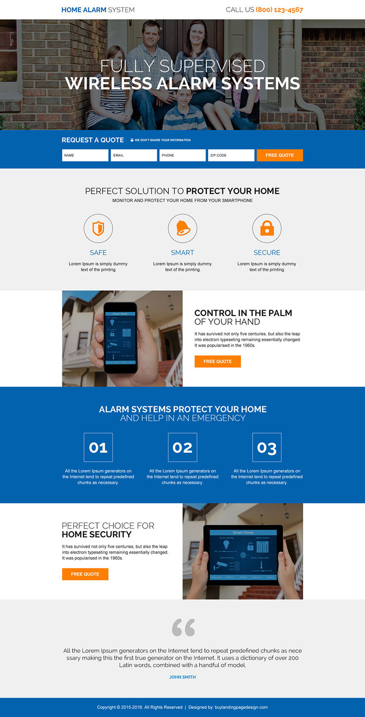 home alarm security system responsive landing page design
