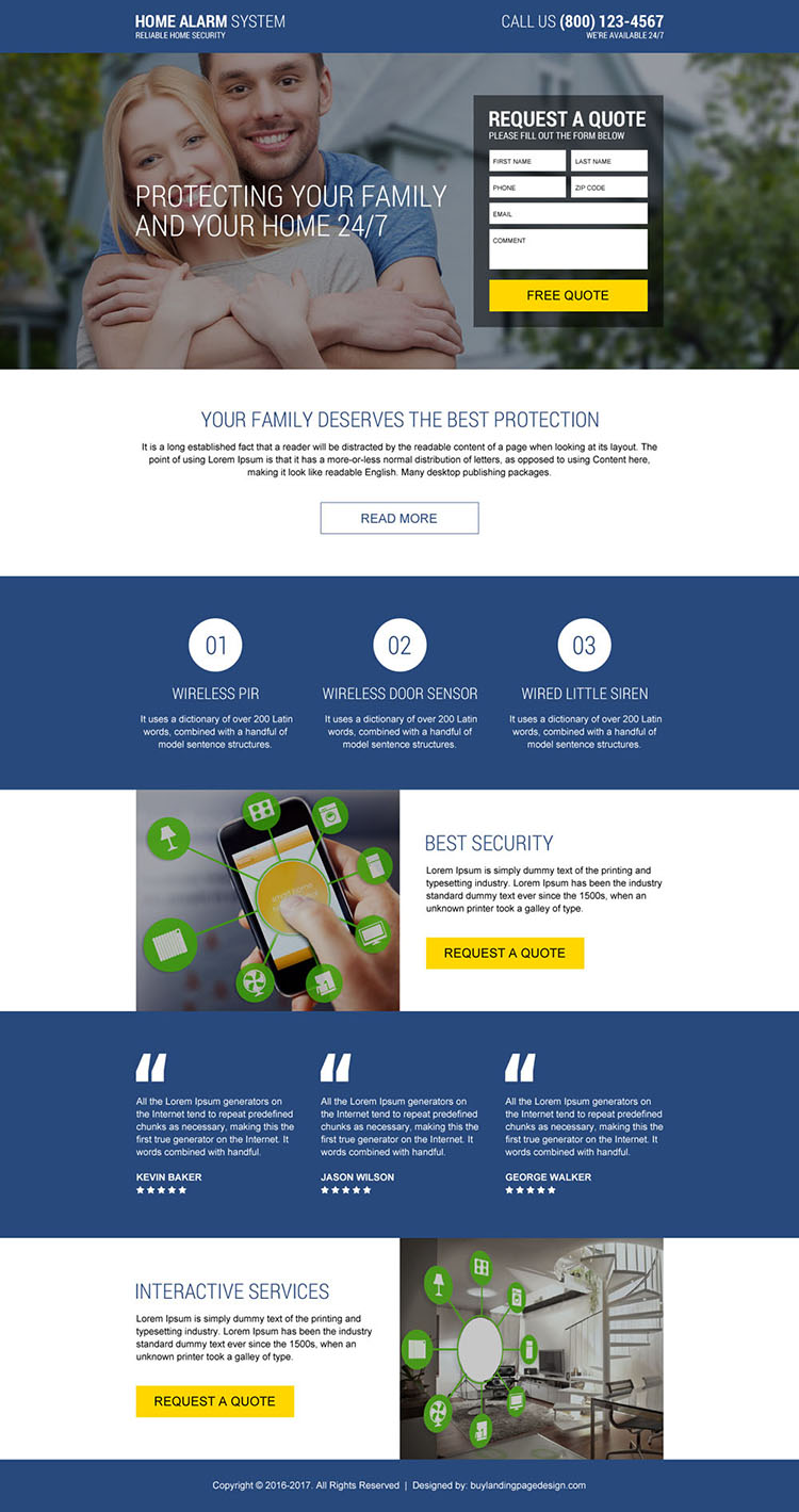home alarm security responsive landing page design