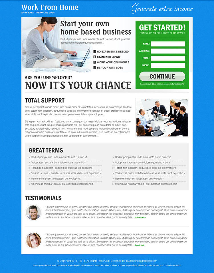work from home based business landing page to boost your traffic and conversion rate effectively