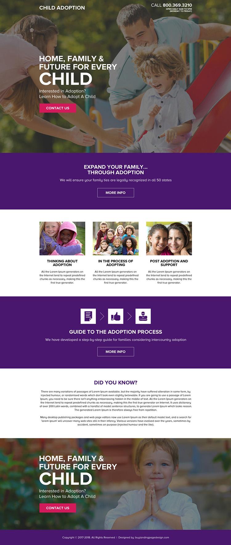 child adoption email and phone call lead capturing landing page