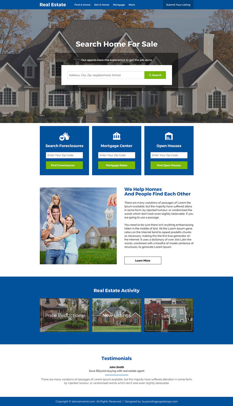 real estate foreclosure and listings responsive website design