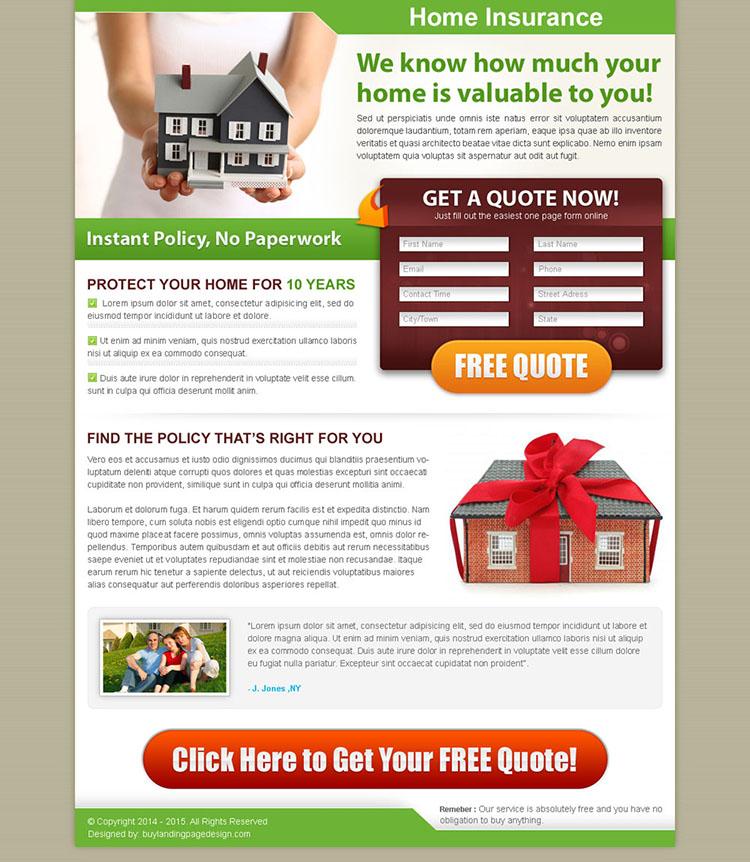 home insurance 2 column effective lead capture landing page design