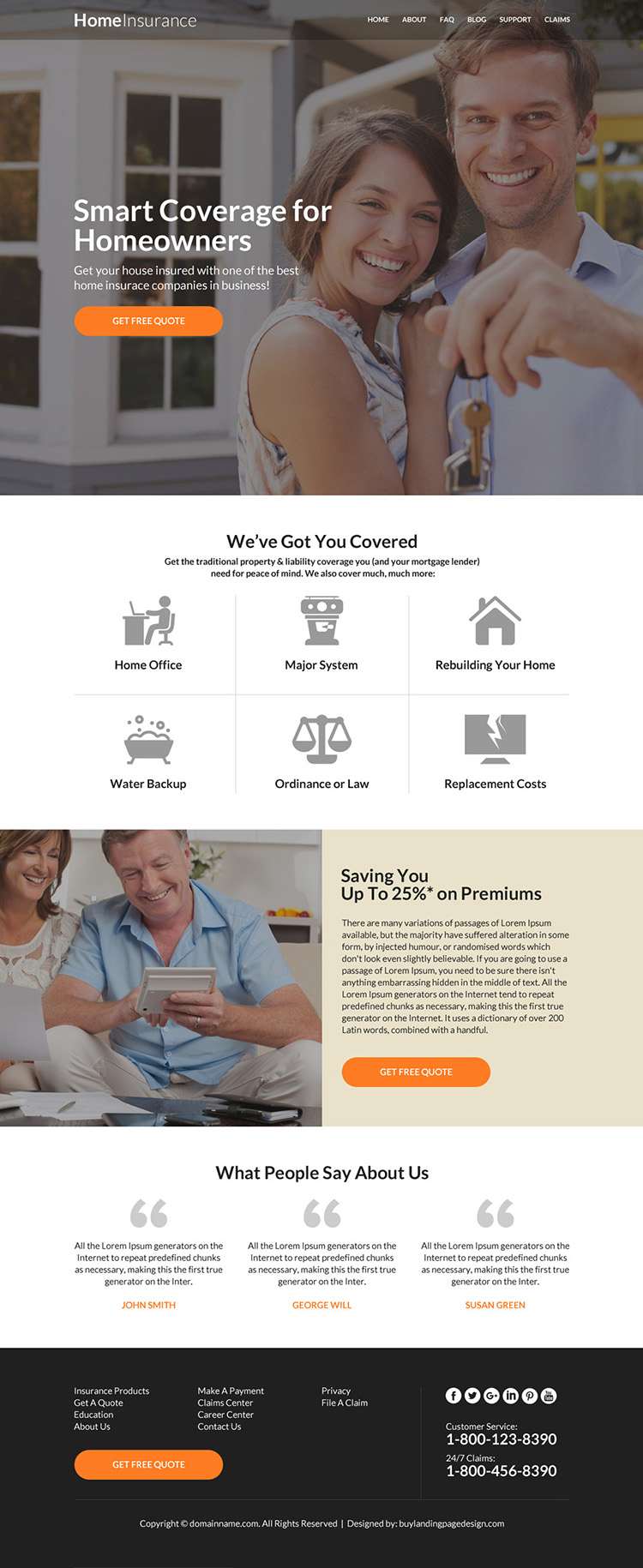 responsive homeowners insurance website design