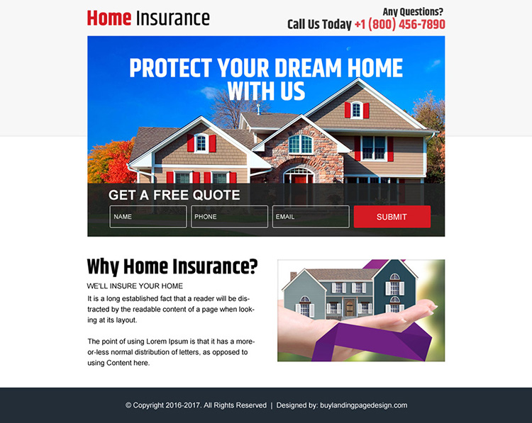 home insurance free quote ppv landing page