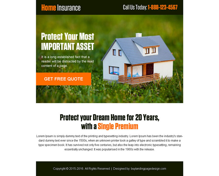 home insurance free quote converting ppv landing page