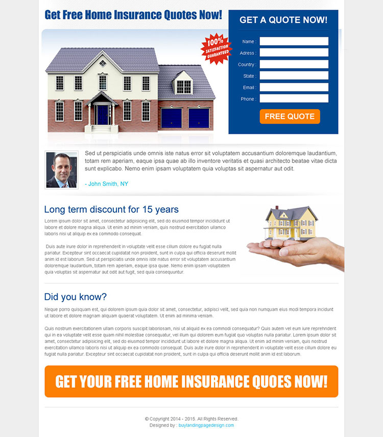 home insurance quote lead capture landing page design template