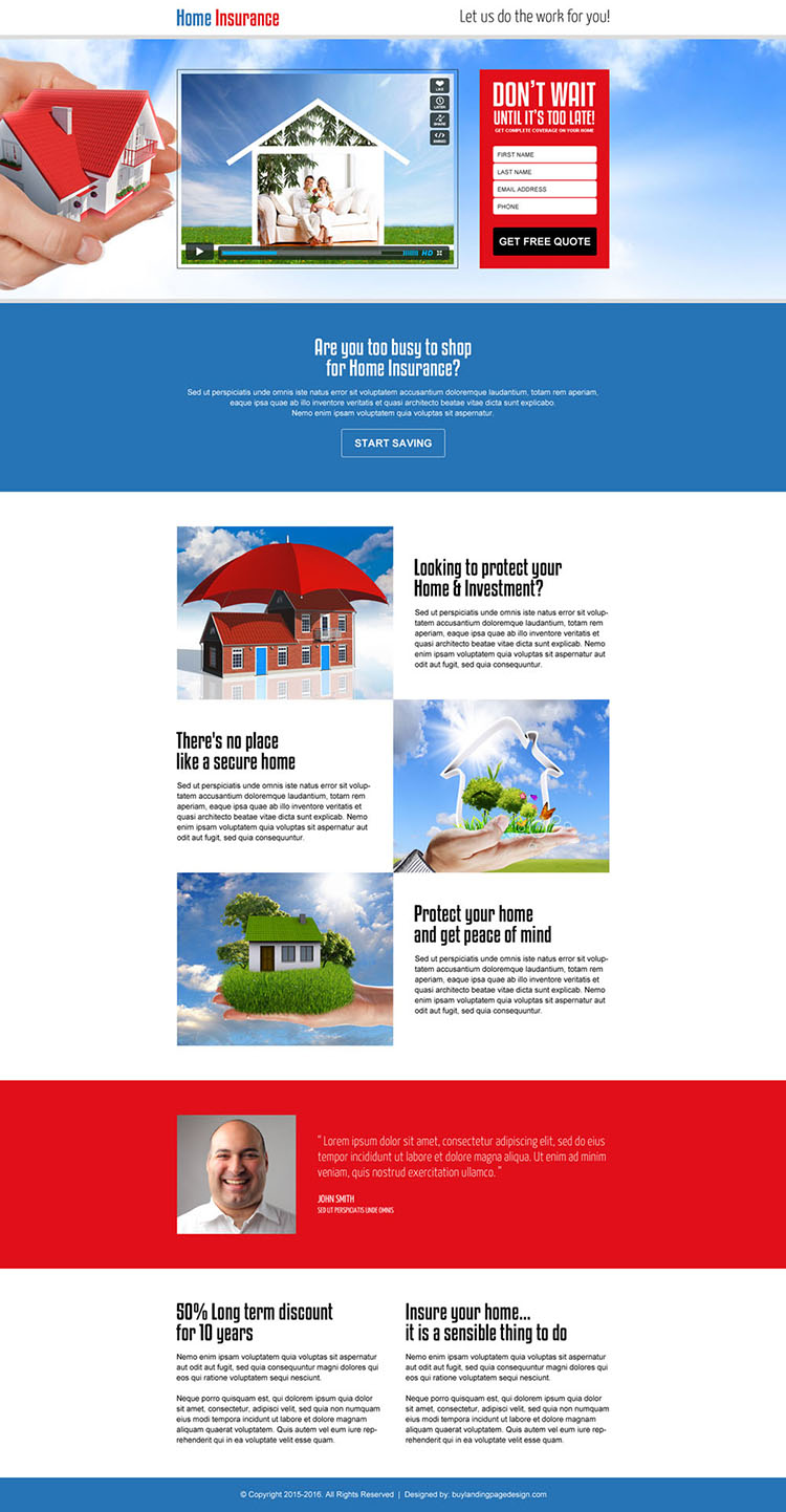 home insurance lead generating video landing page design template
