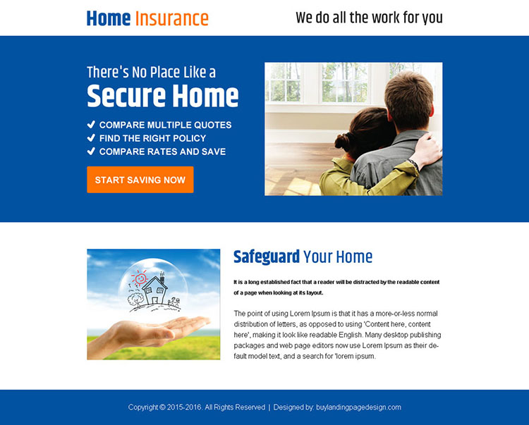 home insurance minimal ppv landing page design