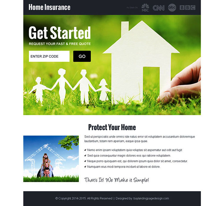 home insurance quote by zip landing page design