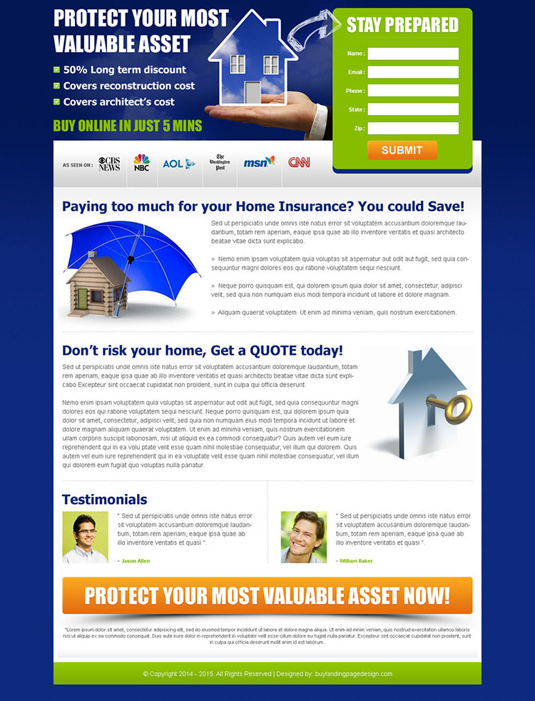 clean lead gen landing page for your home insurance business