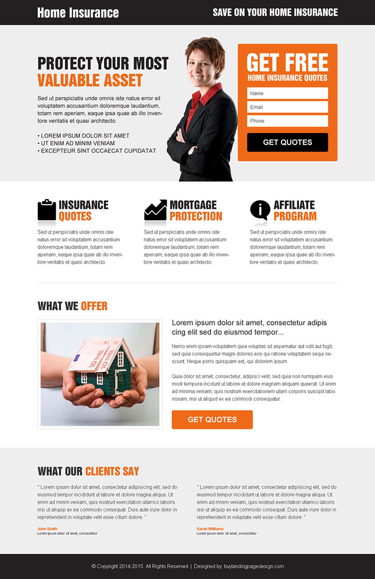 home insurance clean and most converting responsive lead capture landing page design template