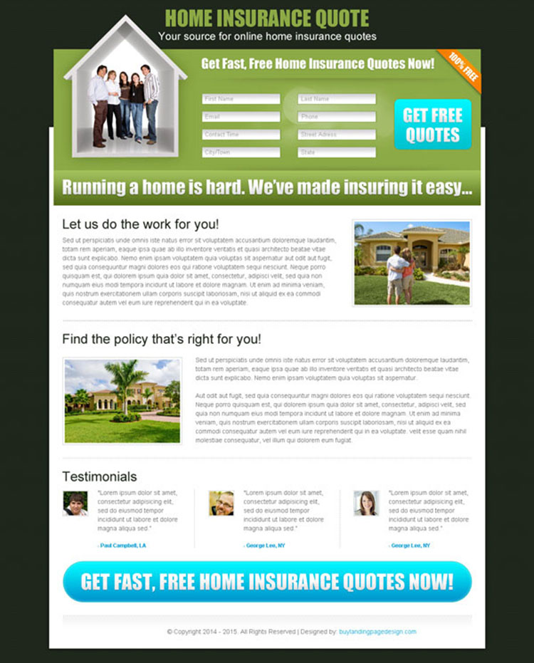 home insurance long lead capture landing page design for sale