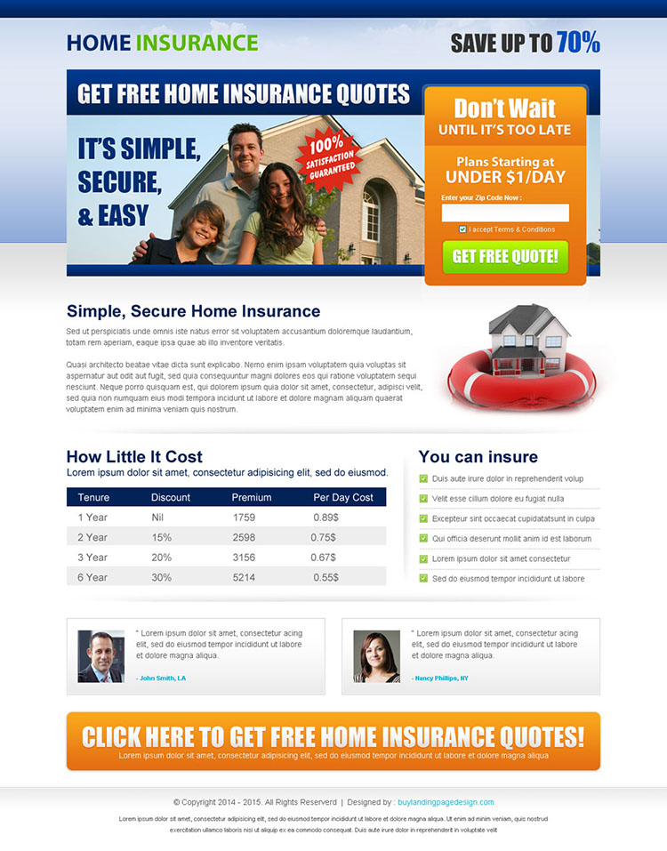 get home insurance free quote lead capture squeeze page