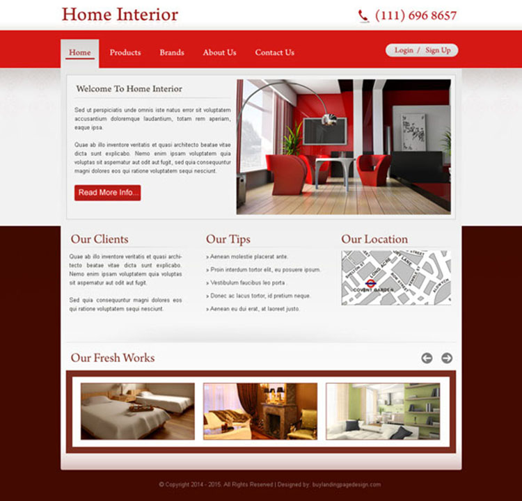 professional and clean home interior call to action website template psd