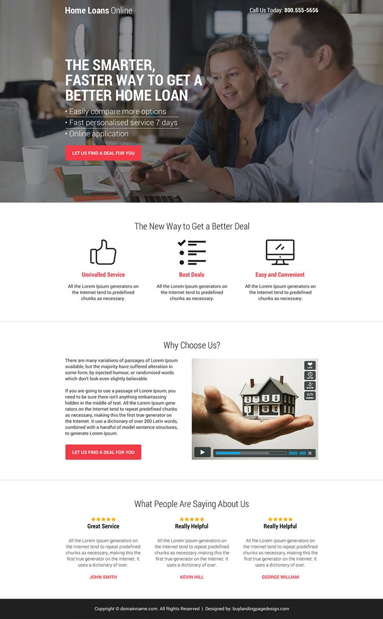 home loan deal minimal call to action landing page design