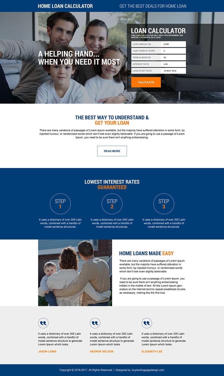 responsive home loan calculator landing page
