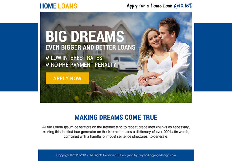 home loan converting ppv landing page design