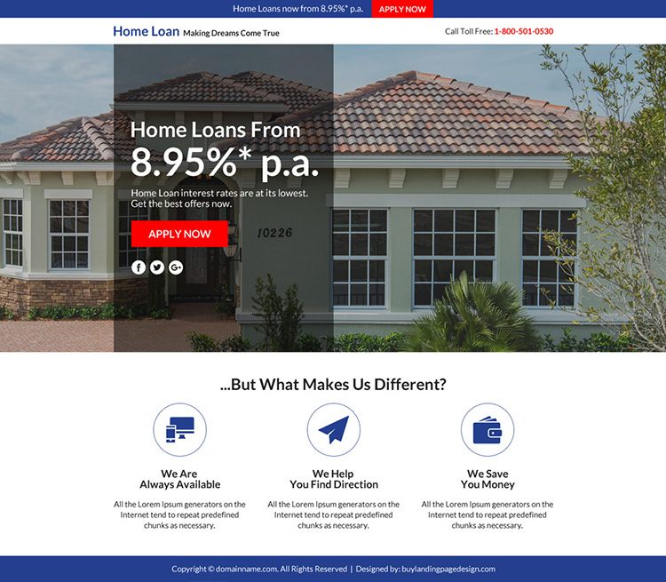 home loan marketing sales funnel landing page
