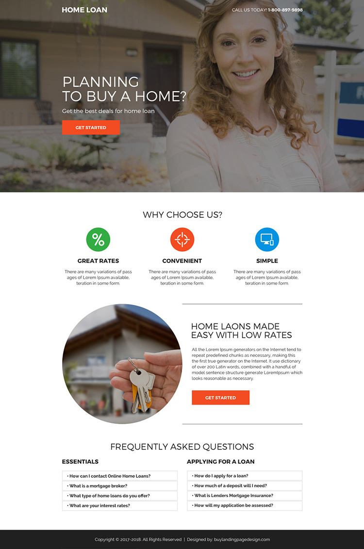 minimal home loan call to action mini landing page