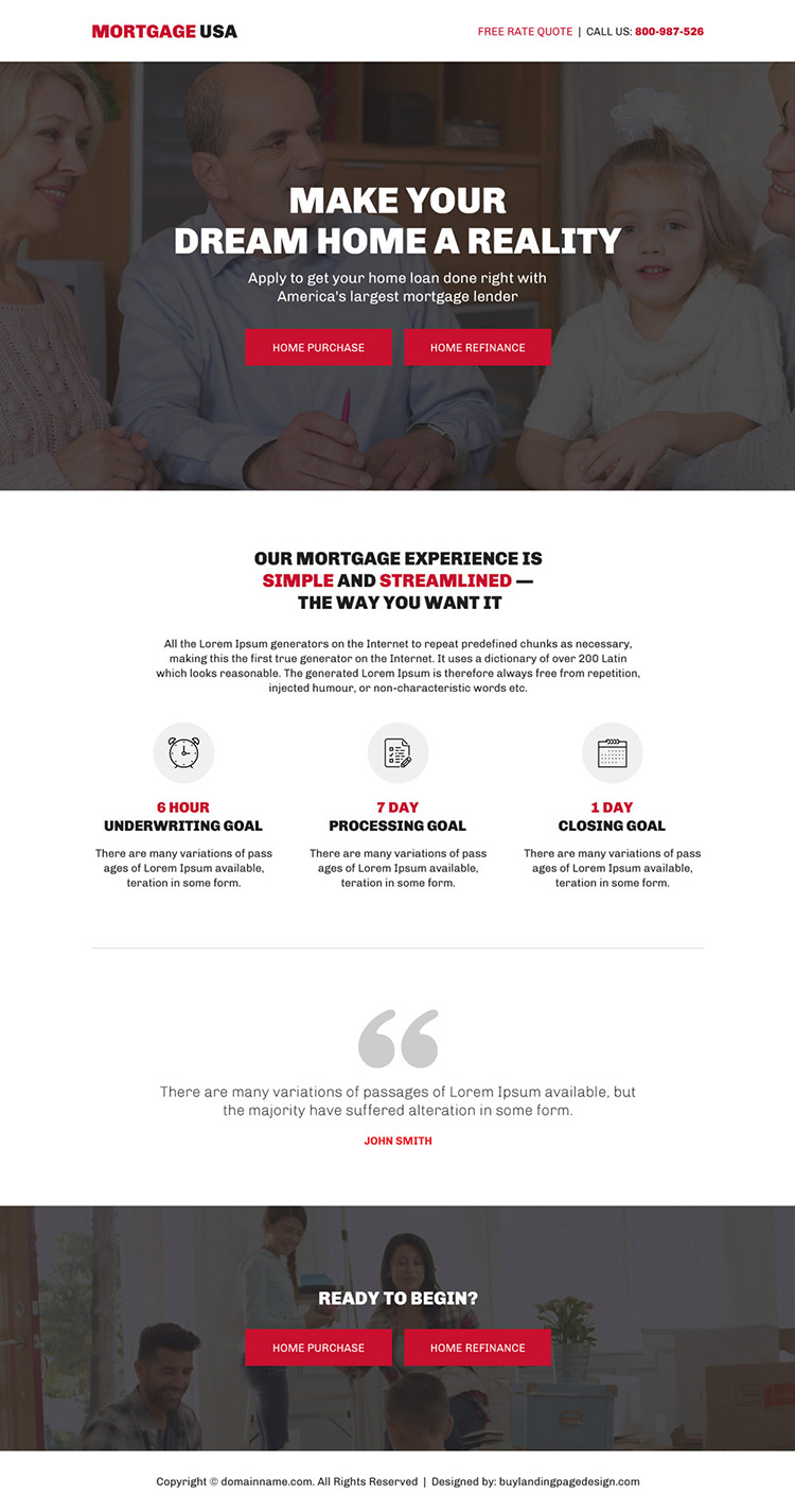 largest mortgage lender bootstrap landing page