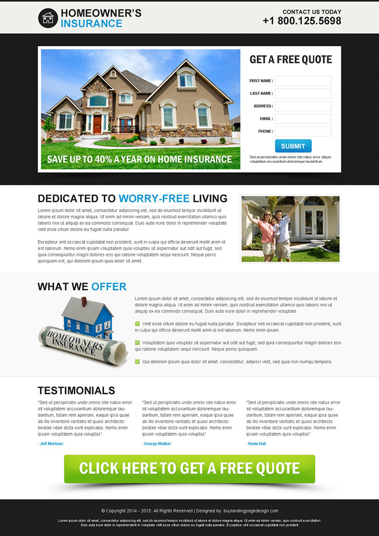 home owners insurance clean and minimal lead capture squeeze page design