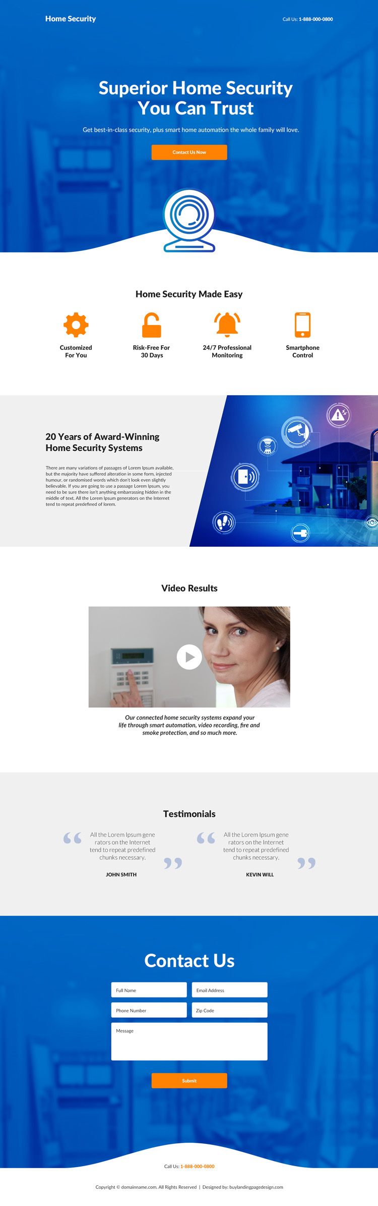 home security system lead capture responsive landing page