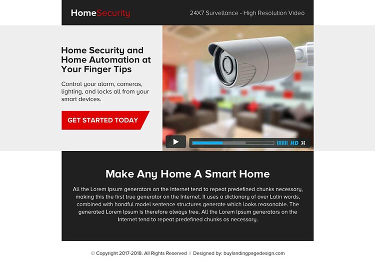 home security video ppv landing page design