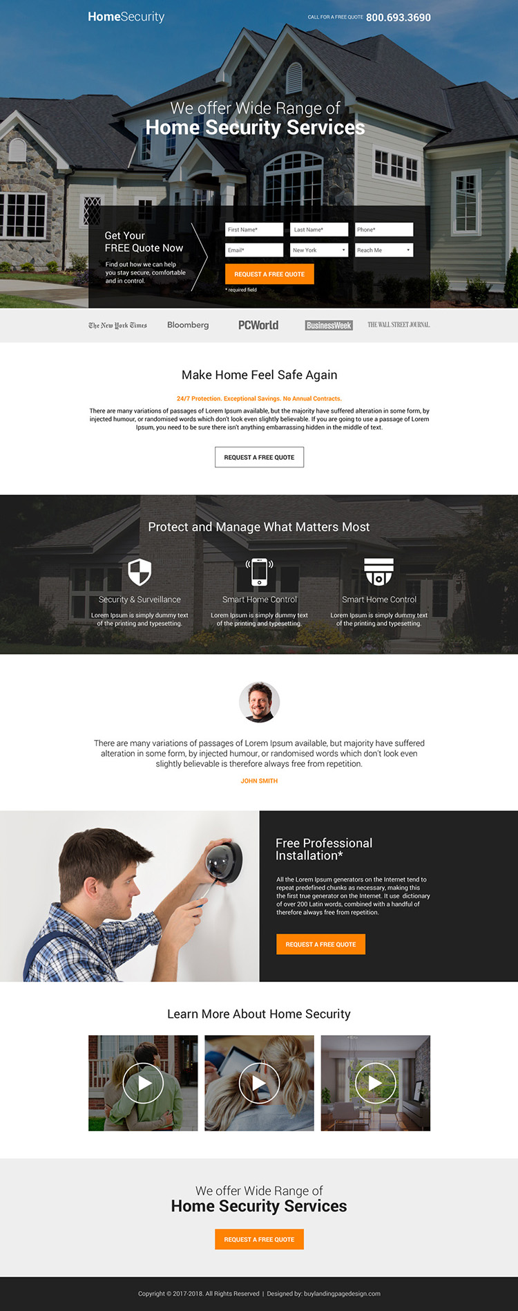 responsive home security service lead generating landing page