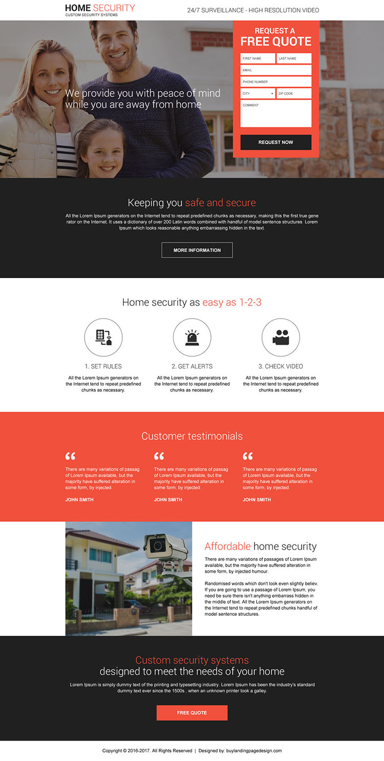 home security system free quote responsive landing page design