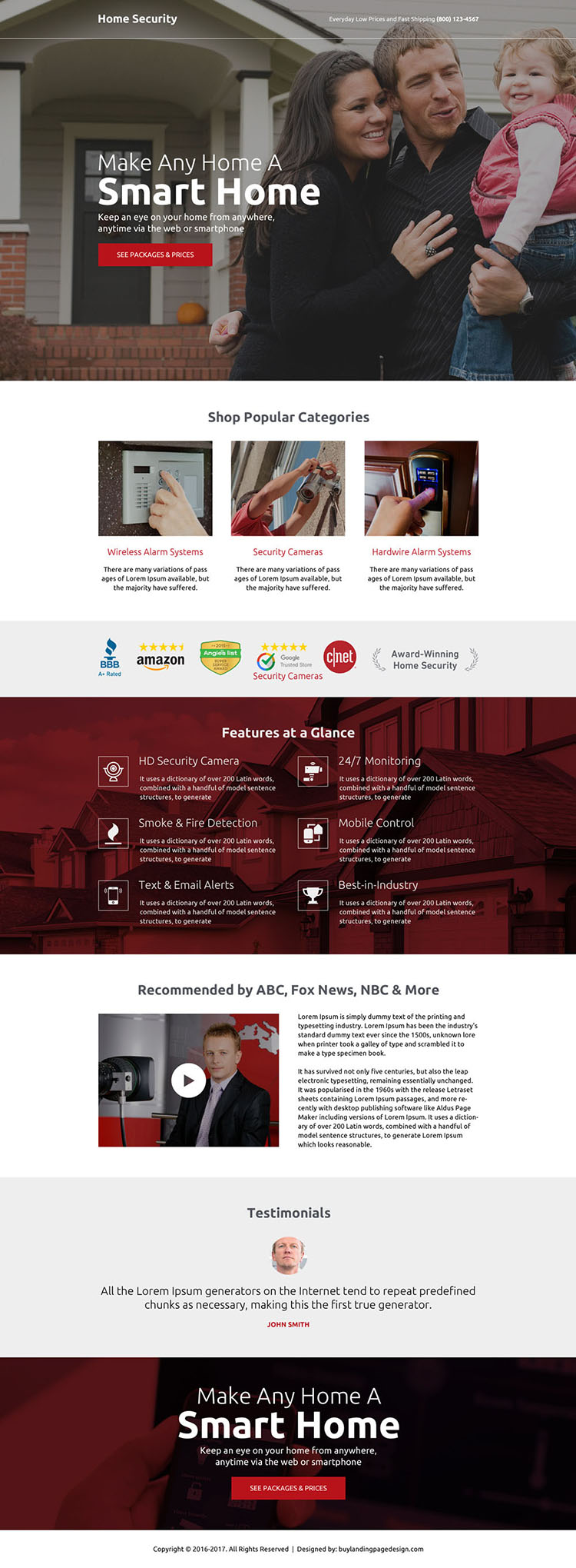 home security call to action landing page design