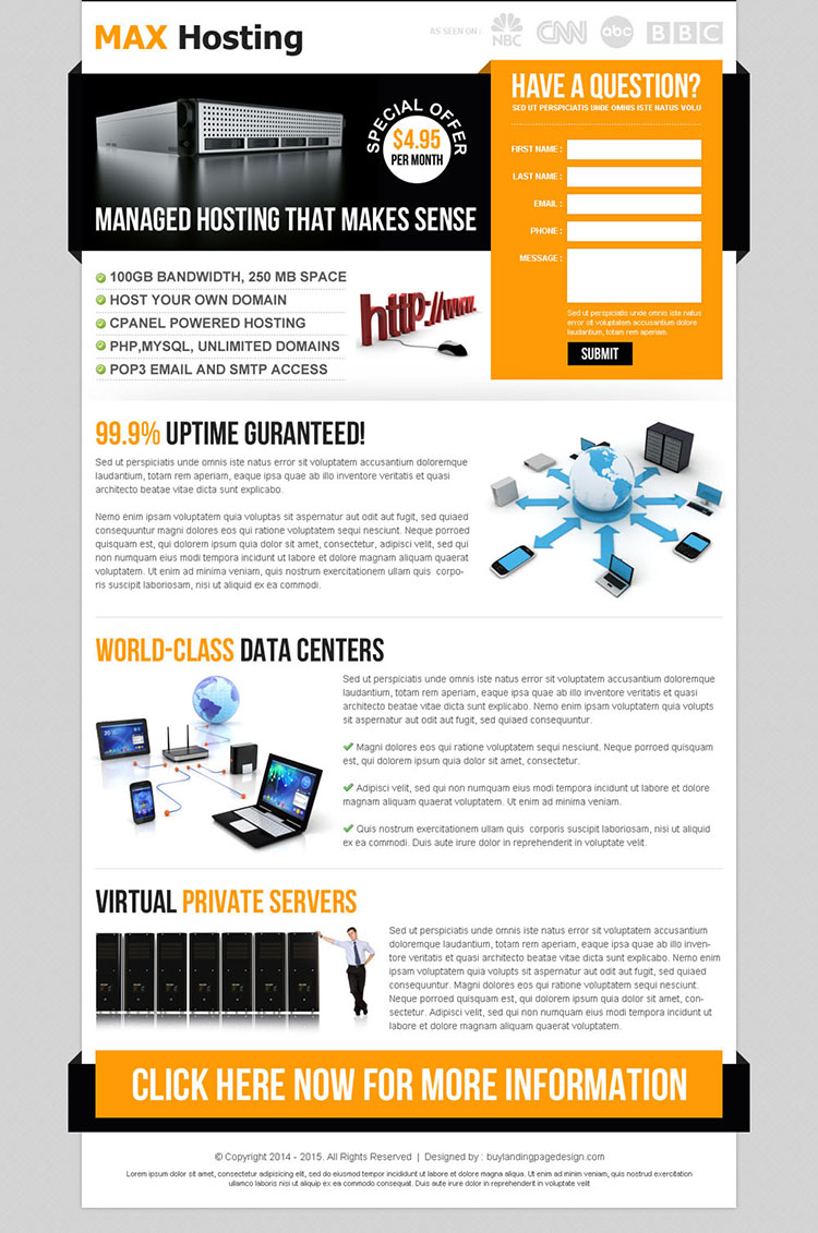 web hosting lead capture squeeze page design template
