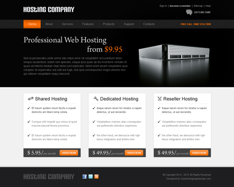 professional web hosting appealing and effective web hosting website template psd