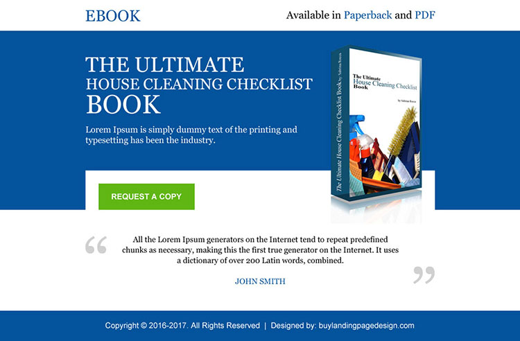 house cleaning ebook selling ppv landing page design