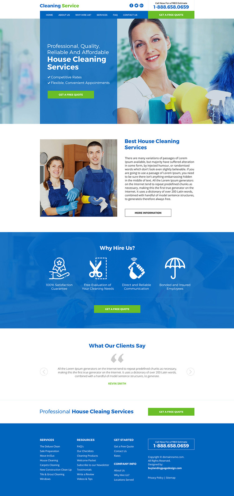 house cleaning service responsive website design