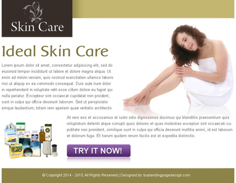 ideal skin care call to action ppv landing page design template