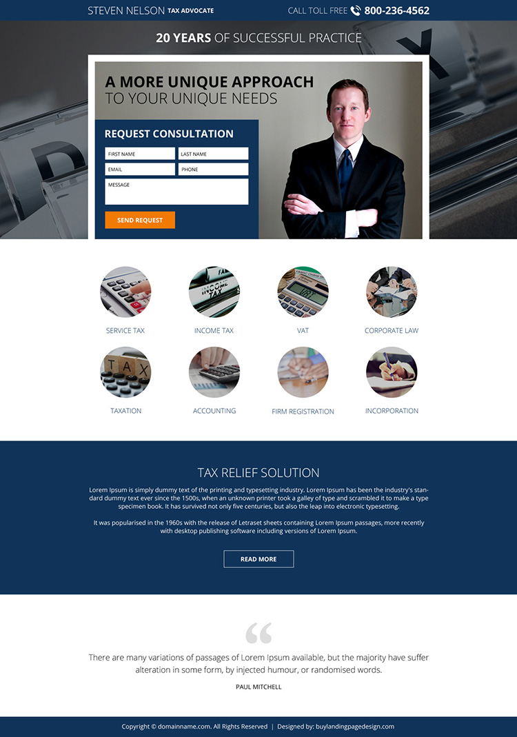 income tax lawyer responsive lead generating landing page