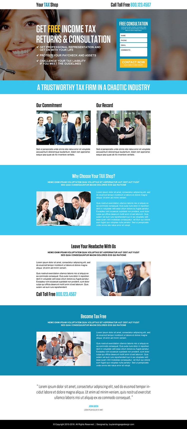 income tax return free consultation lead capture landing page design