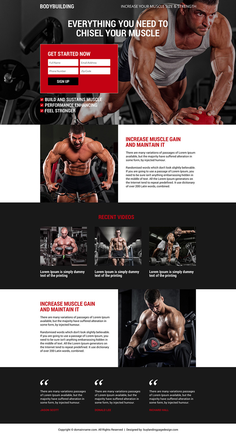 responsive and appealing bodybuilding sign up capturing landing page