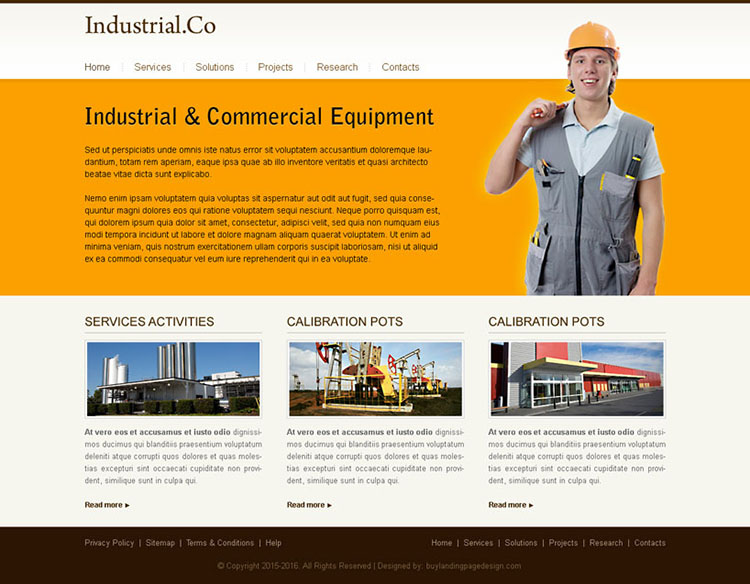 minimal industrial commercial equipment website template design psd