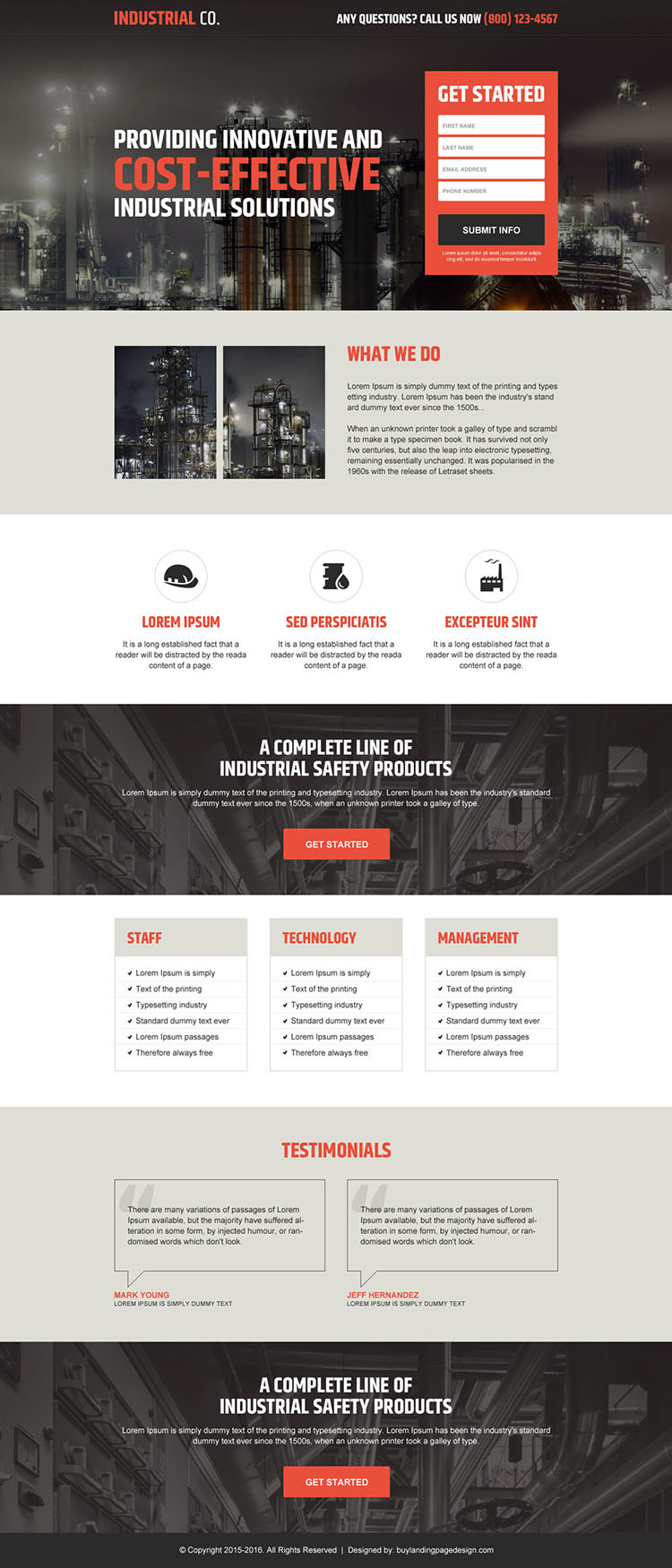professional industrial lead capture landing page design